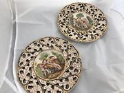 Vintage Capodimonte Gold Gilt Antique Hand Painted Wall Plate Signed Italy