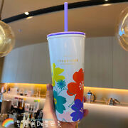 Starbucks 2021 China Crystal Flowers Straw Cup Stainless Steel 20oz Spring New