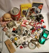 Vintage Antique Junk Drawer Lot Fossil Watch Walking Liberty Cke Cabbage Patch