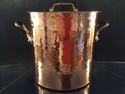 Vintage French 8qt Hand Hammered Tin Lined Copper Stock Pot W/ Lid Cookware