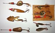 Mixed Lot 9 Vintage Old Antique Metal Fishing Lures 1 Is Renungesser 1 Spinner