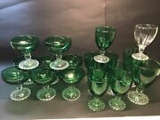 Anchor Hocking Bubble Foot Green Juice Water Goblets Champagnes Set Of 18 Nice