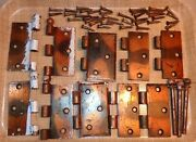 Mixed Lot Old Copper Flash Vintage Metal Door Hinges And Cannonball Hinge Pins