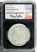 1921-s Mike Castle Morgan Dollar Broadstruck Mint Error Ngc Au 58