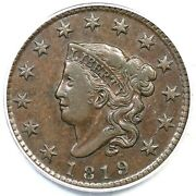 1819 N-10 R-4 Pcgs Xf 45 Small Date Matron Or Coronet Head Large Cent Coin 1c