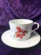 Block Spal Portugal Watercolors Poinsettia Cup And Saucer 1982 Christmas Holidays