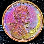 1917-d Lincoln Wheat Penny Cent- Error On Rev Beautiful Toning Superb Gem 01