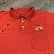 Bud Light Collared Shirt Mens Large Adult Red Vintage 80s Beer Polo Budweiser