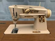 Gold Singer Sewing Machine Model 500a With Sewing Table Foot Pedal Power Cord