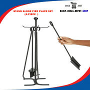 Steel Stand Alone Fire Place Piece Tool Black Tongs, Poker, Brush And Shovel Set