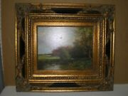 Bacci Signed Oil On Canvas Landscape W/ Stream Trees Cows Farm House Painting