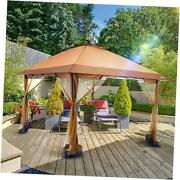 Suntime Outdoor Pop Up Gazebo Canopy With Mosquito Netting And Solar Led Light F
