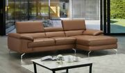 A973b Premium Leather Sectional Sofa In Caramel