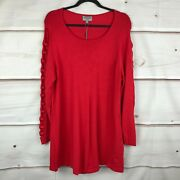 Joseph A Plus Size Lattice-sleeve Sweater Womens 1x Red Scoop Neck Pullover Nwt