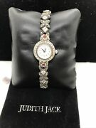 Vintage Judith Jack Sterling Silver Marcasite And Gem Stone Watch Rare