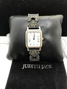 Vintage Judith Jack Sterling Silver Marcasite With Lizzard Band Watch