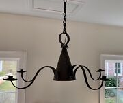 Vtg Quality Made Large Rustic Country Farmhouse Tin Witch's Hat 5 Arm Chandelier