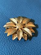 Vintage Gilt Metal Sunflower Brooch By Sarah Coventry 60s/70s Style