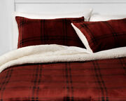 King Size Red Plush And Faux Shearling Plaid Comforter Set With 2 Shams