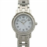 Hermes Clipper Cl4.210 White Dial Ladiesand039 Watch Silver Stainless Waterproof
