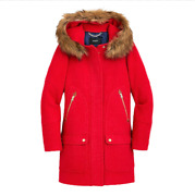 Nwt Jcrew Chateau Parka Pea Coat Jacket Womenand039s 0 Red Wool Hooded J5488 New
