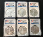 2013 Silver Eagles Ms70 Ngc 6 Coin Bundle