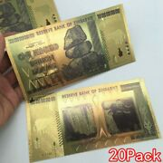 20 Pieces Zimbabwe 100 Trillion Dollar Note Golden Foil Banknote Collection S5