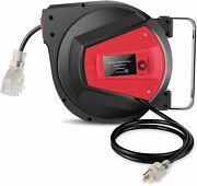 Retractable Extension Cord Reel, 50 Ft+4.5ft Heavy Duty Extension Cord Reels New