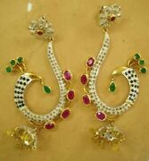 Diamind, Ruby, Emerald, Blue Sapphire 18k Gold And Silver Victorian Earring