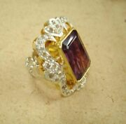 Eye Caching Amethyst Diamond 18k Gold And Silver Victorian Ring