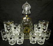 Russian Unique Hand Cut Crystal Vodka Set Of The Decanter And 12 Shot Glasses