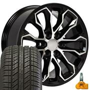 5891 Wheels 17 Black And 255/65r17 Tire Set Fits Colorado Canyon Zr2