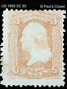 Us Sc 85 3¢ Washington D Grill Rose 1868 Used No Gum Fine/very Fine See Photos