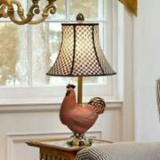 Mackenzie Childs Lamp Rooster Chicken With Courtly Check Shade Fabulous Retired