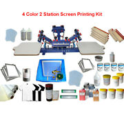 4 Color 2 Station Silk Screen Printing Kit Rotary Press Machine With Ink Supply
