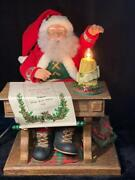 Vintage Holiday Creations Animated Lighted Motion Musical Writing Santa