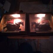 Vtg Set Of Light Up Budweiser King Of Beer Shadow Boxes With A Clydesdale Horses