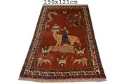 Antique Hand Made Afghan Rugs, Old Pictorial Tapestry Rugs Size 190 Cm X 121 Cm