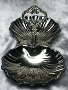 Vintage Decorative Fine French Silver Plate Twin Oyster Shell Bowl Entree Dish