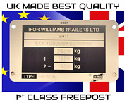 Ifor Williams Trailer Vin Plate Fully Engraved - Ready To Fit 115 X 65