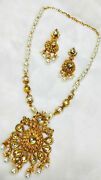 Traditional Necklace Set White Pearl Beads Kundan Golden Gift Clearance Sale -11