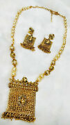 Traditional Necklace Earring Set Stone Pearl Beads Gold Gift Clearance Sale -10