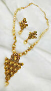 Necklace Set Earrings Kundan Pearl Beads Gold Jewelry Gift Clearance Sale -7