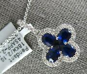 Large 2.47ct Diamond And Aaa Sapphire 18kt White Gold Flower Love Floating Pendant