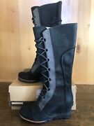 Sorel Cate The Great Wedge 7 Tall Black Good Waterproof Lace Up Rare