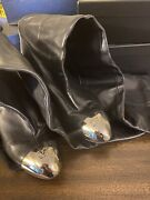 Authentic Black Leather High Boots. Size 41 Us 9-9.5. Dust Dags. No Box