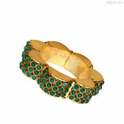 Green Onyx Gemstone Bangle 925 Sterling Silver Antique Vintage Inspired Jewelry
