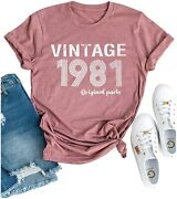 Vintage 1981 T Shirt Women Original Parts Letter Tees 40th Birthday Shirts For G