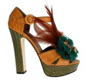 Dolce And Gabbana Shoes Womenand039s Caiman Crocodile Leather Crystal Eu38.5/us8.5