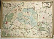 Spectacular Wall Map Of Paris France 1877 By Victor Clerot 54 X 39 19th Century